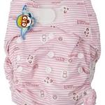 婴秀印花魔术贴布尿裤(粉色)
