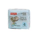 费雪欢乐之夜新生儿婴儿夜用纸尿裤4号18片装
