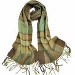 柏汇优品纯羊毛围巾特价促销款格子浅绿色/赠羊毛兔毛手套一副