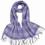 柏汇优品纯羊毛围巾特价促销款格子蓝色/赠羊毛兔毛手套一副