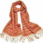 柏汇优品纯羊毛围巾特价促销款条纹桔色/赠羊毛兔毛手套一副