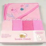 安香态多色浴巾搓澡巾套装组合-粉色