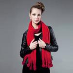 柏汇优品超柔暖绒彩球流苏长围巾BHYP1708红色