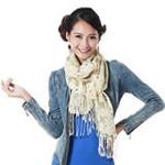 柏汇优品精纺柔细纯羊毛长围巾披肩MX2807跳舞女孩米黄色