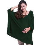 LOVESMAMA新款秋装韩版时尚宽松孕妇针织衫蝙蝠上衣96561绿色M