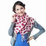 柏汇优品精纺柔细纯羊毛长围巾披肩MX2807美丽红唇米玫红色