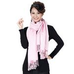 柏汇优品棉毛单色加厚长围巾披肩BH3202圆圈粉色