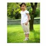 绿典彩棉女童泡泡袖T恤S2ITT0054001白色150