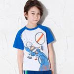 童壹库男童可爱单车短袖T恤男童可爱单车短袖T恤TTWF035104奥林匹克蓝140