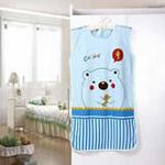 睡王抓鱼儿的小胖熊针织棉无袖蓝色短款婴幼儿宝宝睡袋50*90CM