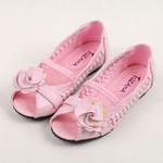 兔仔唛TUZAMA新款女童皮鞋编织玫瑰花公主鞋粉红34码