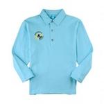 派克兰帝星男童帅气经典衬衫领T恤PUWE085101水瓶蓝170