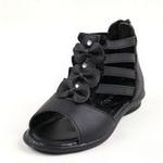 兔仔唛TUZAMA大女童新款方口单鞋蝴蝶结公主皮鞋黑色33码