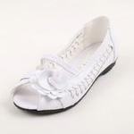 兔仔唛TUZAMA新款女童皮鞋编织玫瑰花公主鞋白色31码