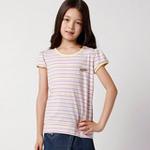 童壹库女童彩条T恤KTWE075201紫黄条130