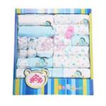 贝衣贝四季通用款纯棉婴儿十八件套宝宝大礼盒蓝色