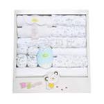 达梦贝比四季款婴儿纯棉十五件套宝宝大礼盒蓝点