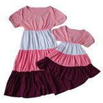 雪精灵亲子装连衣裙X2-1219粉紫色/宝宝款130