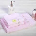日本内野UCHINO田园风光蕾丝边全棉1浴2面套装-粉色