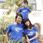 爱湾亲子装蓝色家庭装套装710童装11码