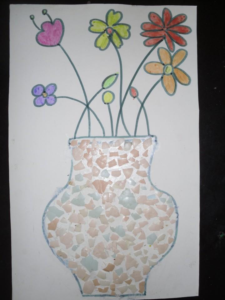 系列之蛋壳粘贴画 美丽的花瓶