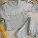 【小素材】纯棉色织保暖肩开套装3774/灰色/100