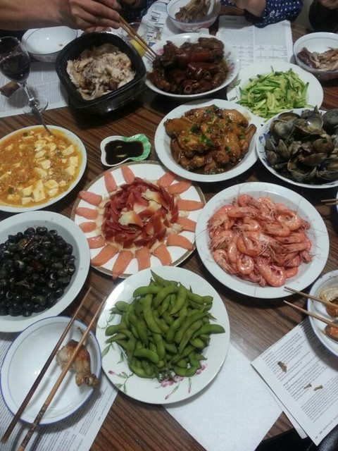 小叔子为中秋节准备的饭菜