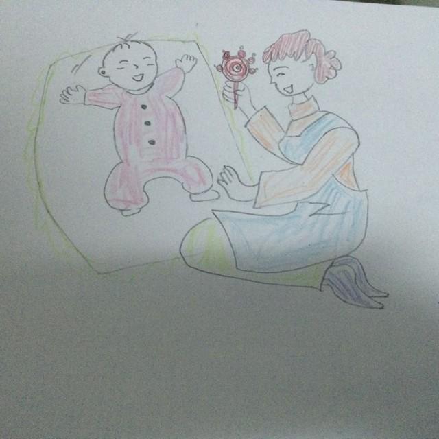 母亲的素描画-幸福妈妈孕期铅笔画图片