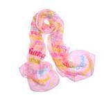 EnjoyLove女士炫彩丝质长围巾优雅字母粉色