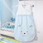 睡王可爱的小熊宝宝精梳棉无袖造型长款婴幼儿宝宝睡袋/蓝色50*90CM